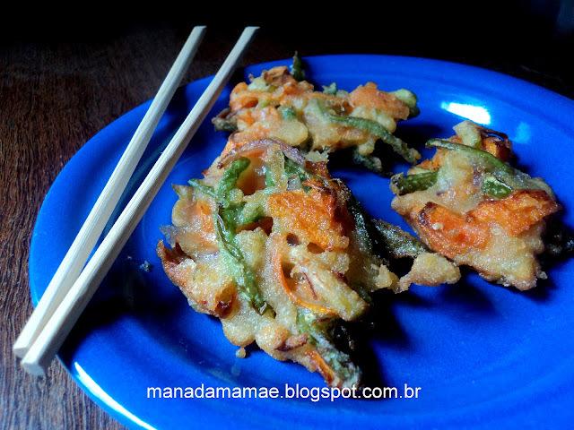 tempurá de legumes repolho e cenoura