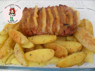 de pernil de porco assado com abacaxi e batata