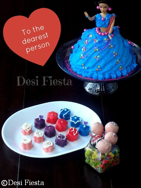 Rose Petit Fours , Rose cake pops and Indian Doll cake - Guest post for Priya aks