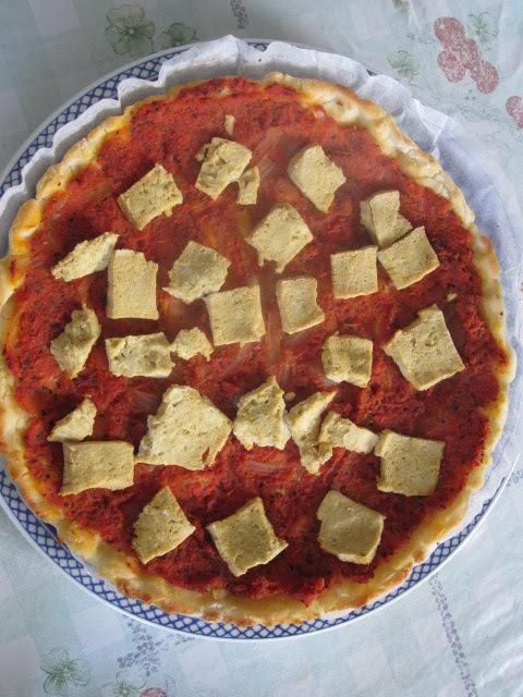 de massa de pizza feita com iogurte