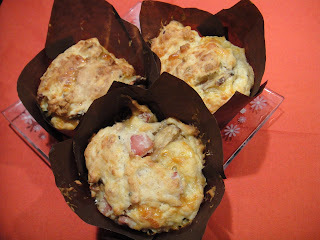 Ham, cheese and mushroom muffins