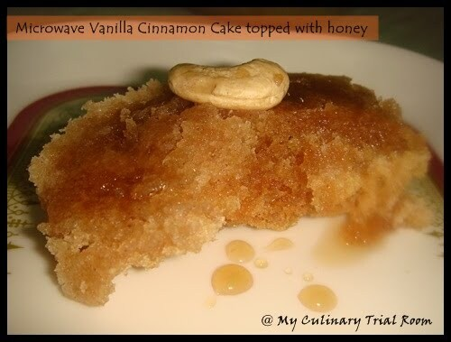 Microwave Vanilla Cinnamon Cake topped with honey