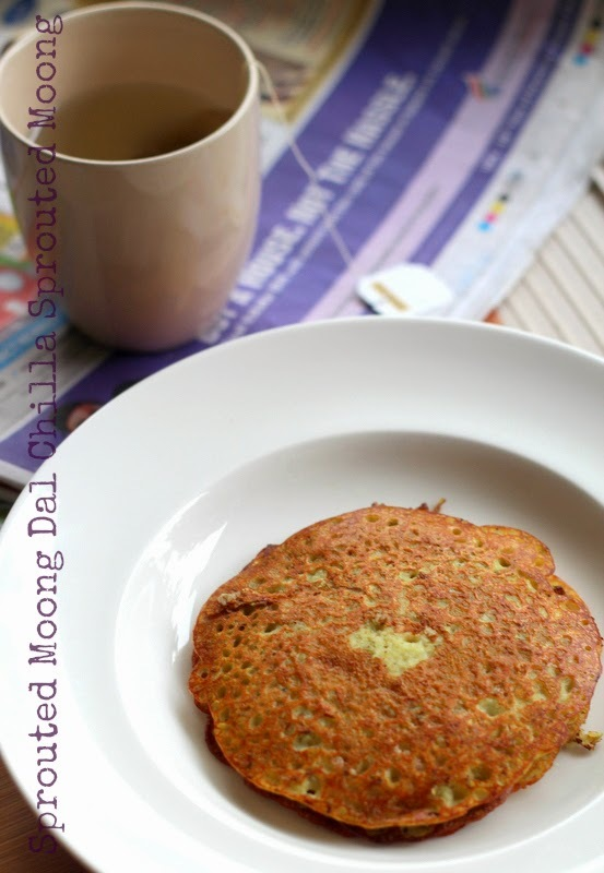[VeganMoFo 2014 Recipe] Sprouted Moong Dal Chilla  (Cheela) + Two Book Giveaways To Win: Hot Tea Across India and The Cast Iron Skillet Cookbook