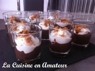 Crème chocolat et mascarpone, miettes de pain d'épices