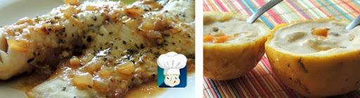 Peixe ao molho de maracujá + Mousse de maracujá