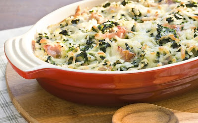 de arroz de forno com presunto e mussarela
