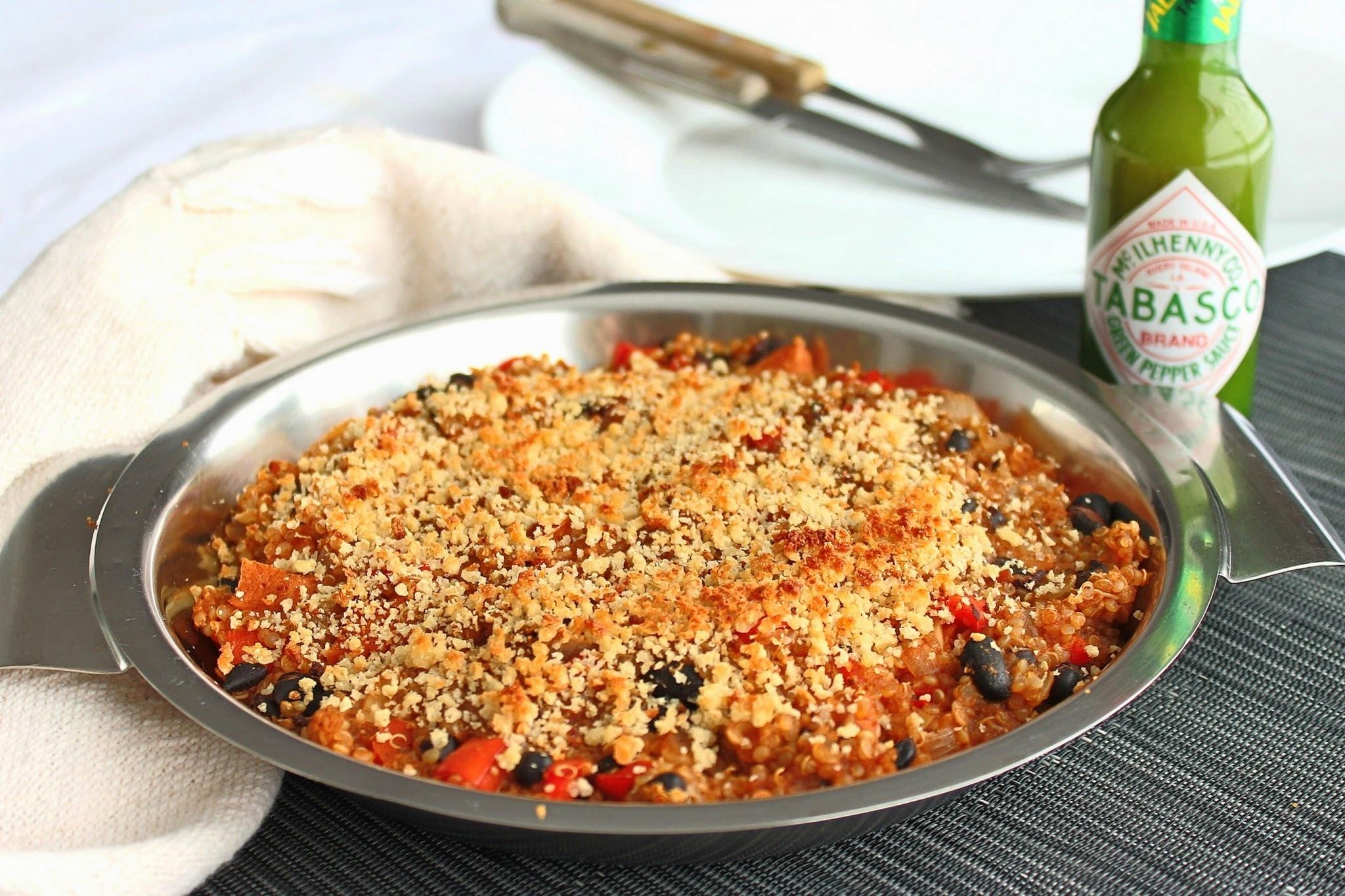 """""""mexido"""" gratinado de quinoa e feijão preto (vegano, gluten-free)"""