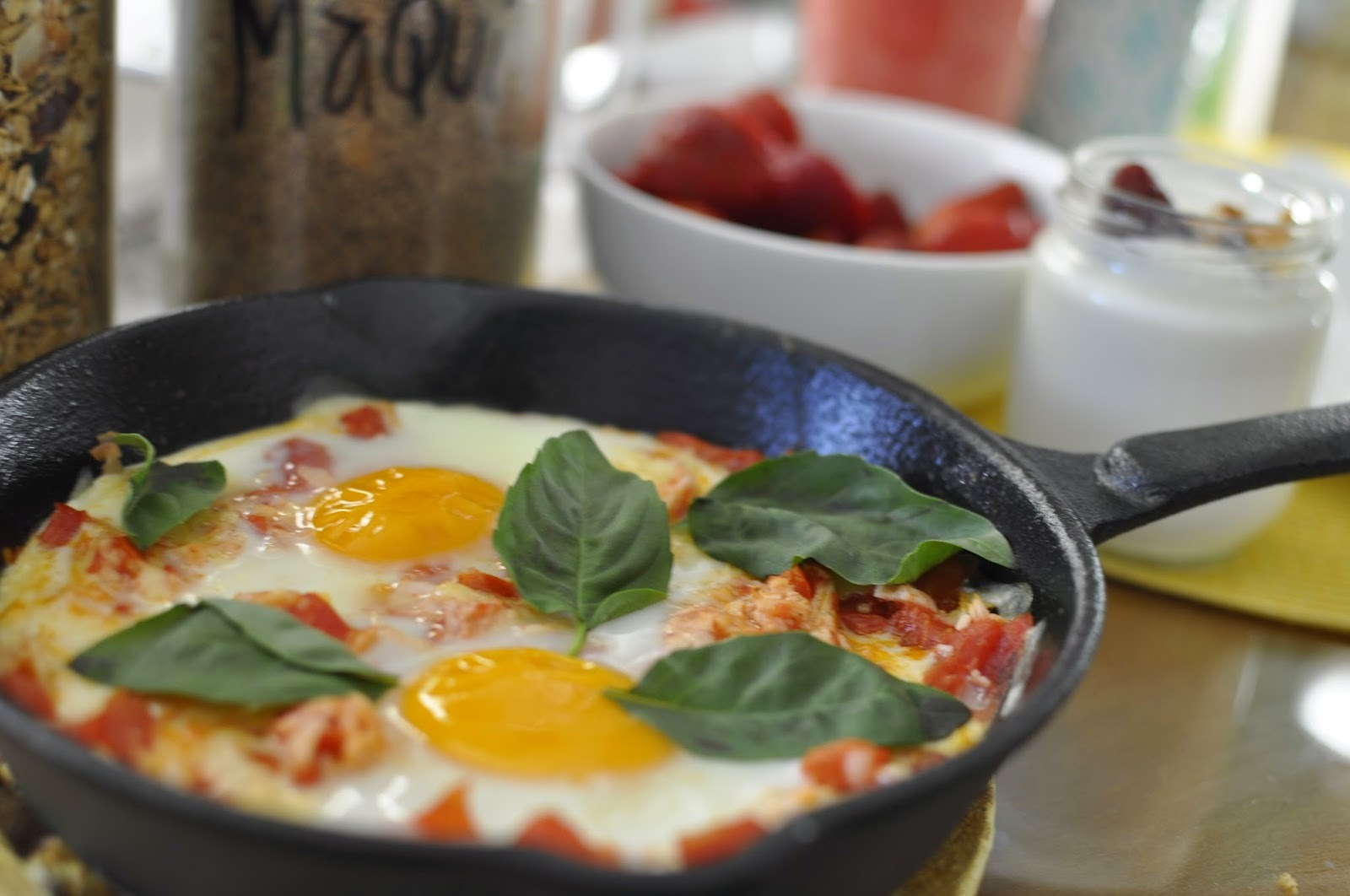 Huevo caprese al horno