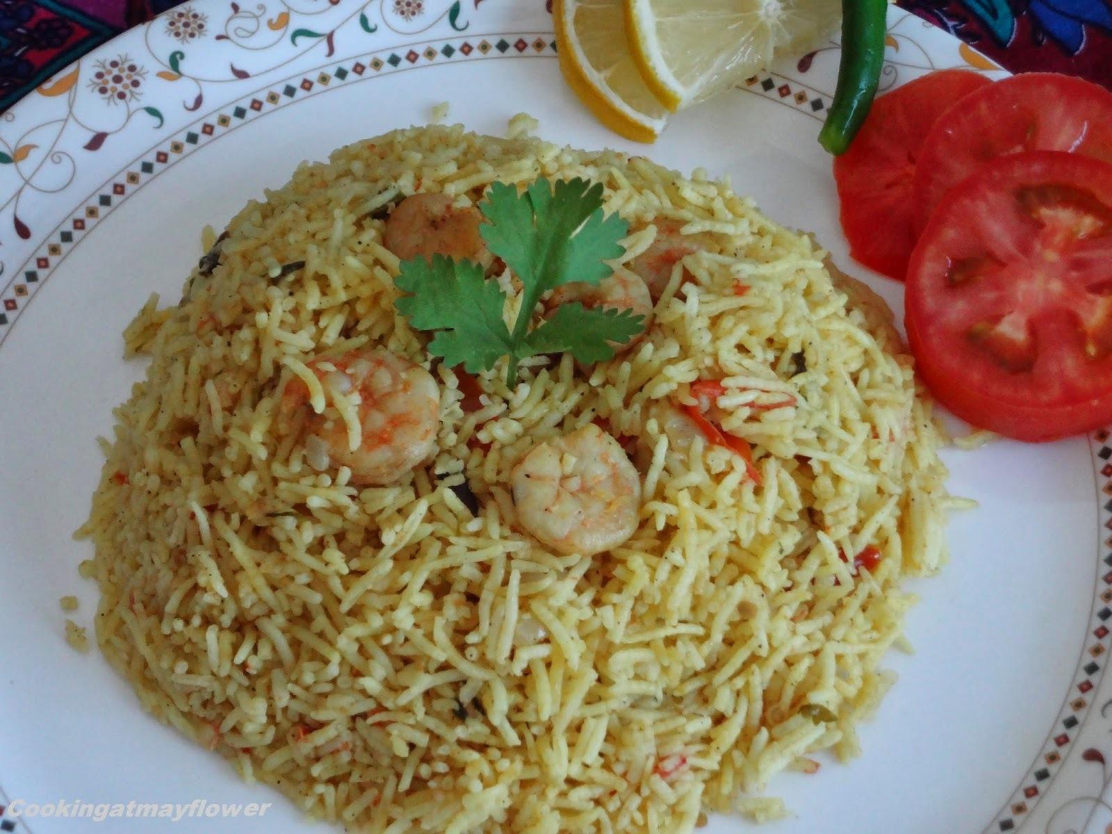 Jaldi cooker pulao/ Prawns pulao/ lunchbox recipe