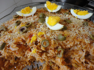 arroz com bacalhau de forno com ervilha