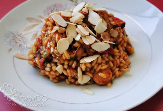 Risoto de calabresa, tomate seco e pimentão