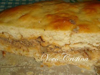torta salgada de pão de forma com sardinha