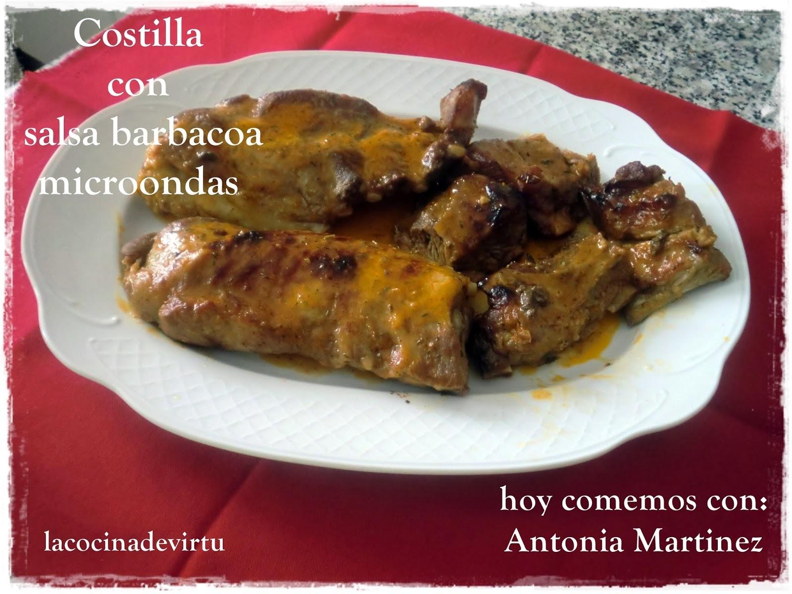 HOY COMEMOS CON: Antonia Martinez COSTILLA DE CERDO CON SALSA BARBACOA. microondas