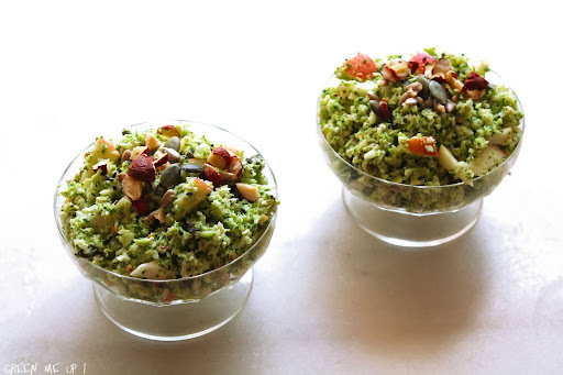 Taboulé de brocoli cru et pomme, sauce noisette-cumin