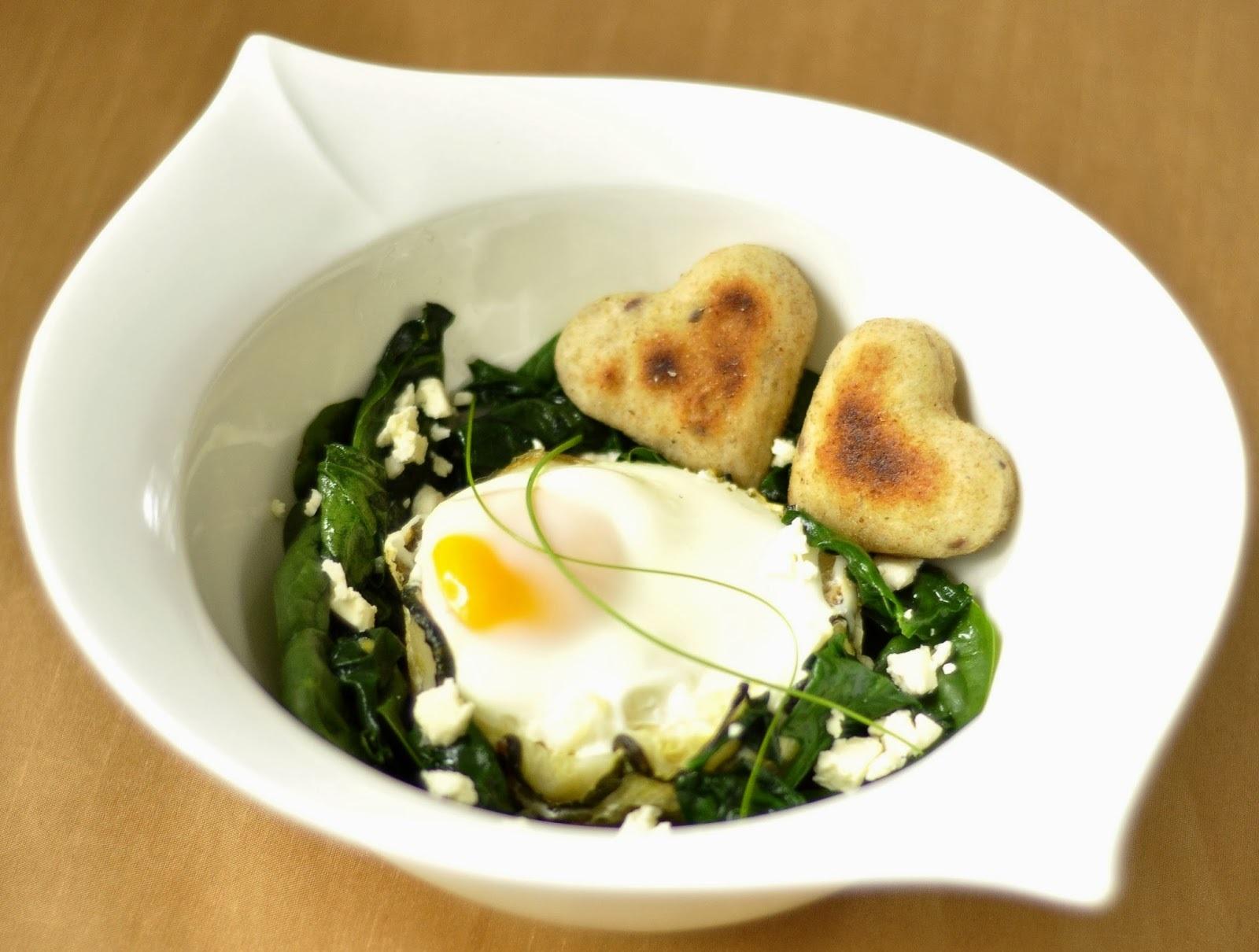 Cuketa, tofu, syr, vajce a špenát so srdiečkami