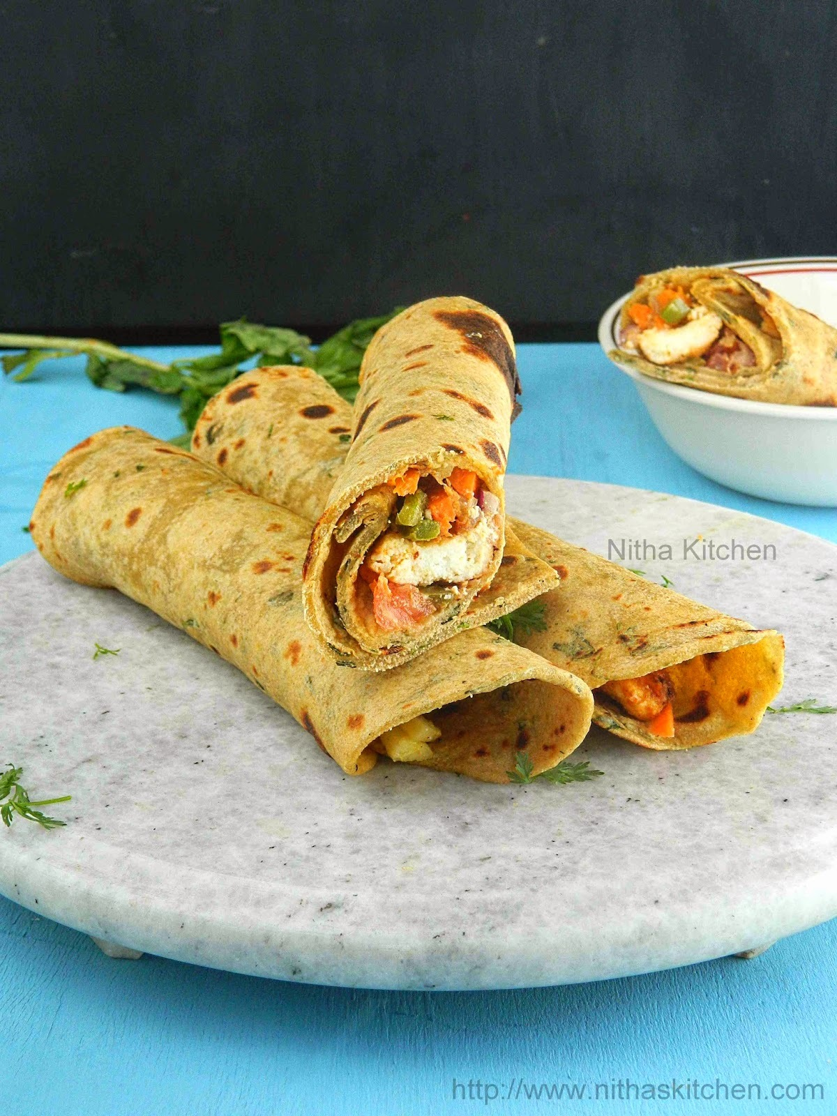 Paneer Tikka Kati Roll | Vegetarian Chapathi Roll Recipe