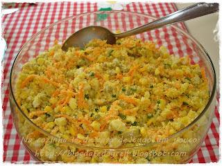 farofa com farinha de milho com milho ervilha