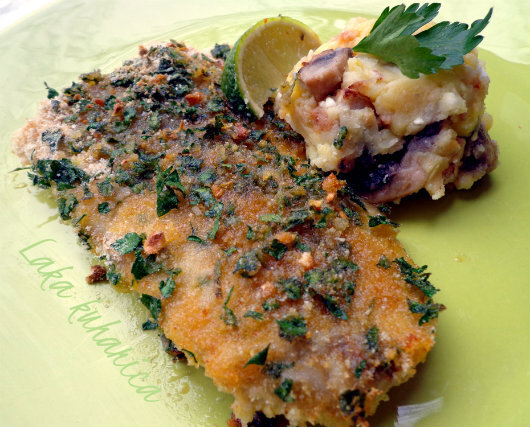 Bakalar iz pećnice s pire krumpirom, fetom i šampinjonima :: Oven-baked cod with feta and mushroom mash