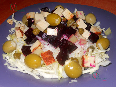 Ensalada de remolacha, arroz y col