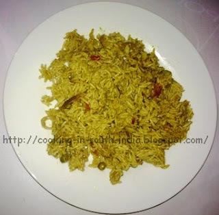 Pudhina Pulao / Mint leaves Rice