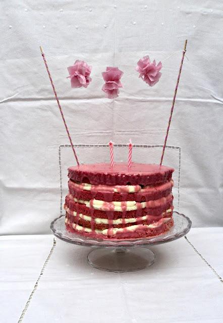 Cumpleaños de Telma * Tarta arco iris de fresa