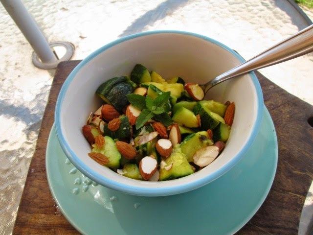zucchini and almond salad  with mint (ensalada de zapallitos y almendras)