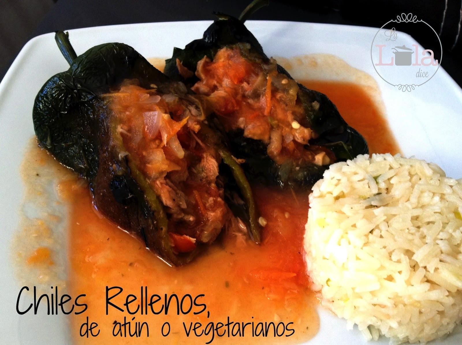 Chiles Rellenos, de atún o vegetarianos