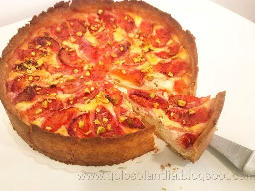 Tarta de queso y naranja sanguina ,  receta casera