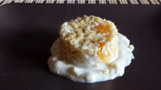 Risotto with pumpkin on the sheep's cheese fondue