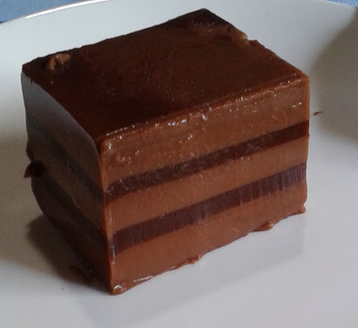 Striped chocolate jelly dessert