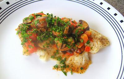 Tilapia com Tomates e Cogumelos