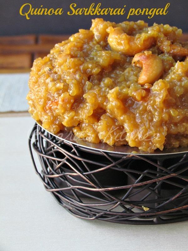 Quinoa sweet Pongal / Varagu arisi sarkkarai pongal