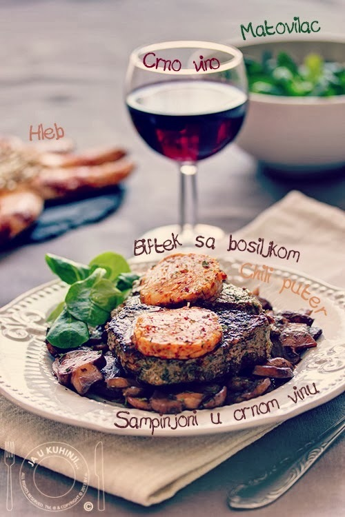 Biftek u marinadi sa bosiljkom