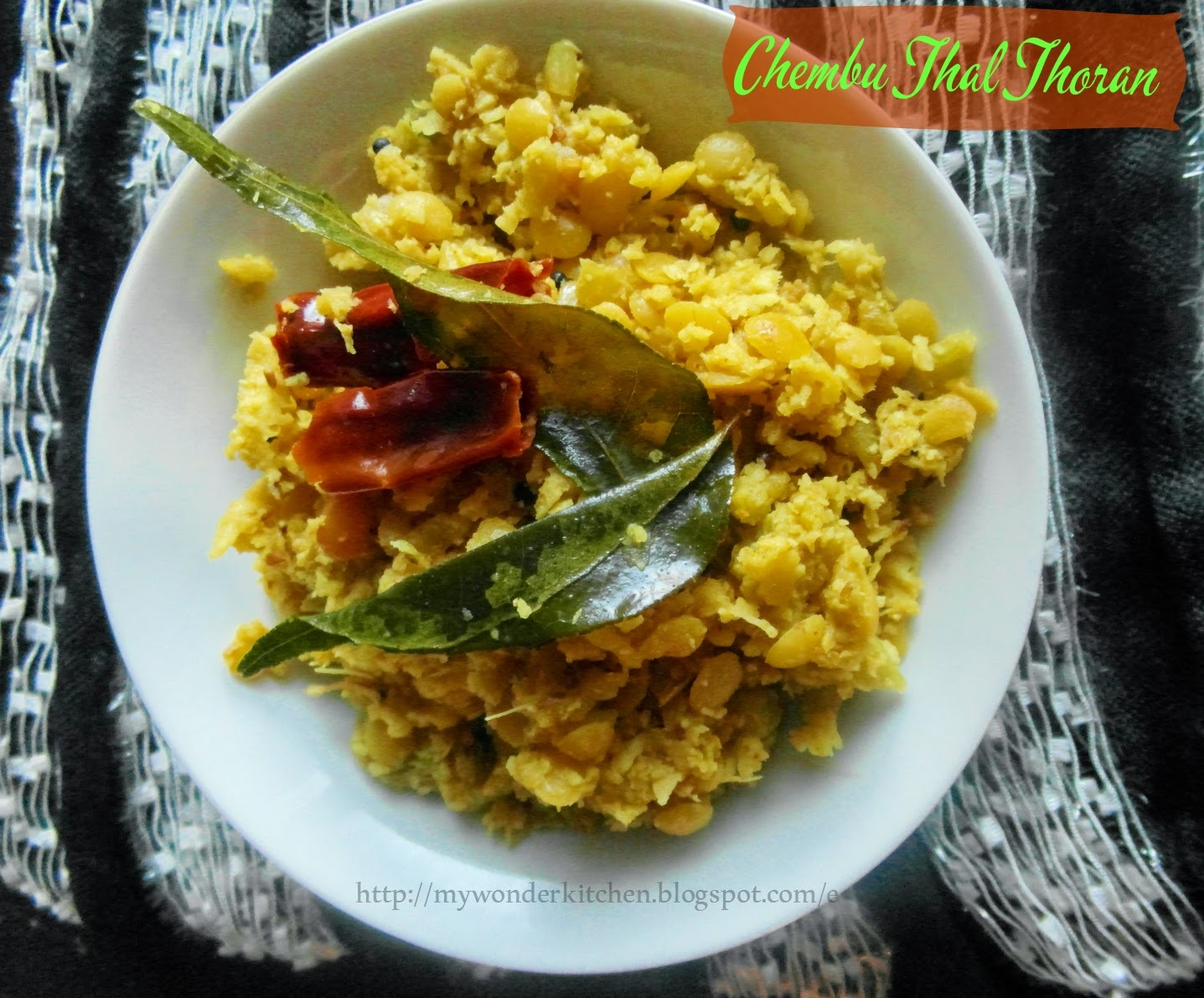 Chembu Thal thoran|Taro stem dish made with coconut paste and lentil,a Kerala speciality