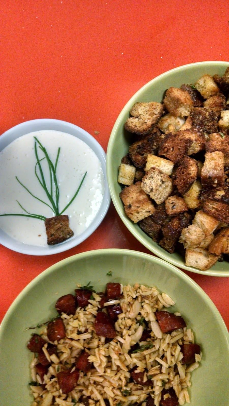 Creme rápido de aspargos com toppings