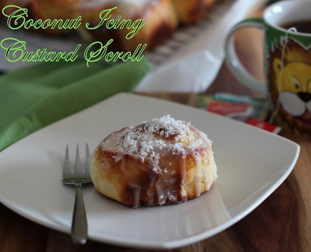 Coconut Icing Custard Scroll