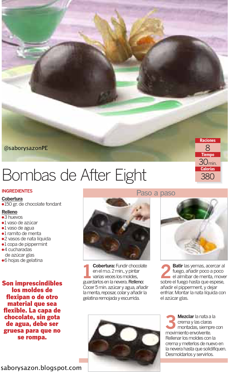 RECETA SENCILLA - BOMBAS DE AFTER EIGHT
