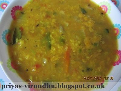 Moong Dhal Sambar/ Paasi Paruppu Sambar/ Tiffin sambar[Side dish for Idlis & Dosas]