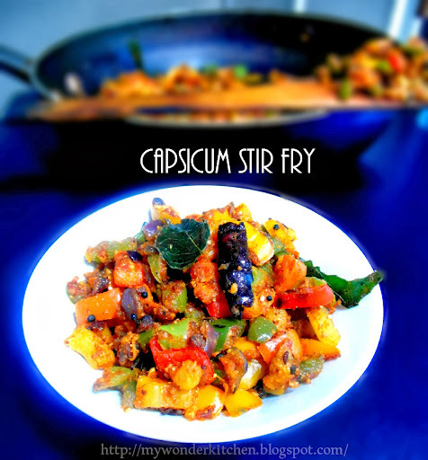 Colorful Capsicum stir fry-Andhra style