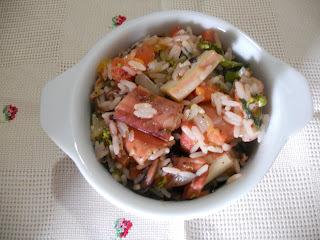 arroz camarão polvo e lula