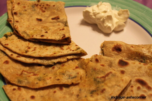 Spring Onion Paratha- Guest post for Jagruti's Cooking Odyssey