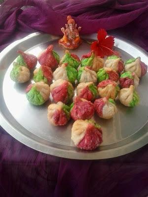 Tirangi modak |tricolour fried (tallele) crisp modak for ganesh chaturthi |panchkhadya modak