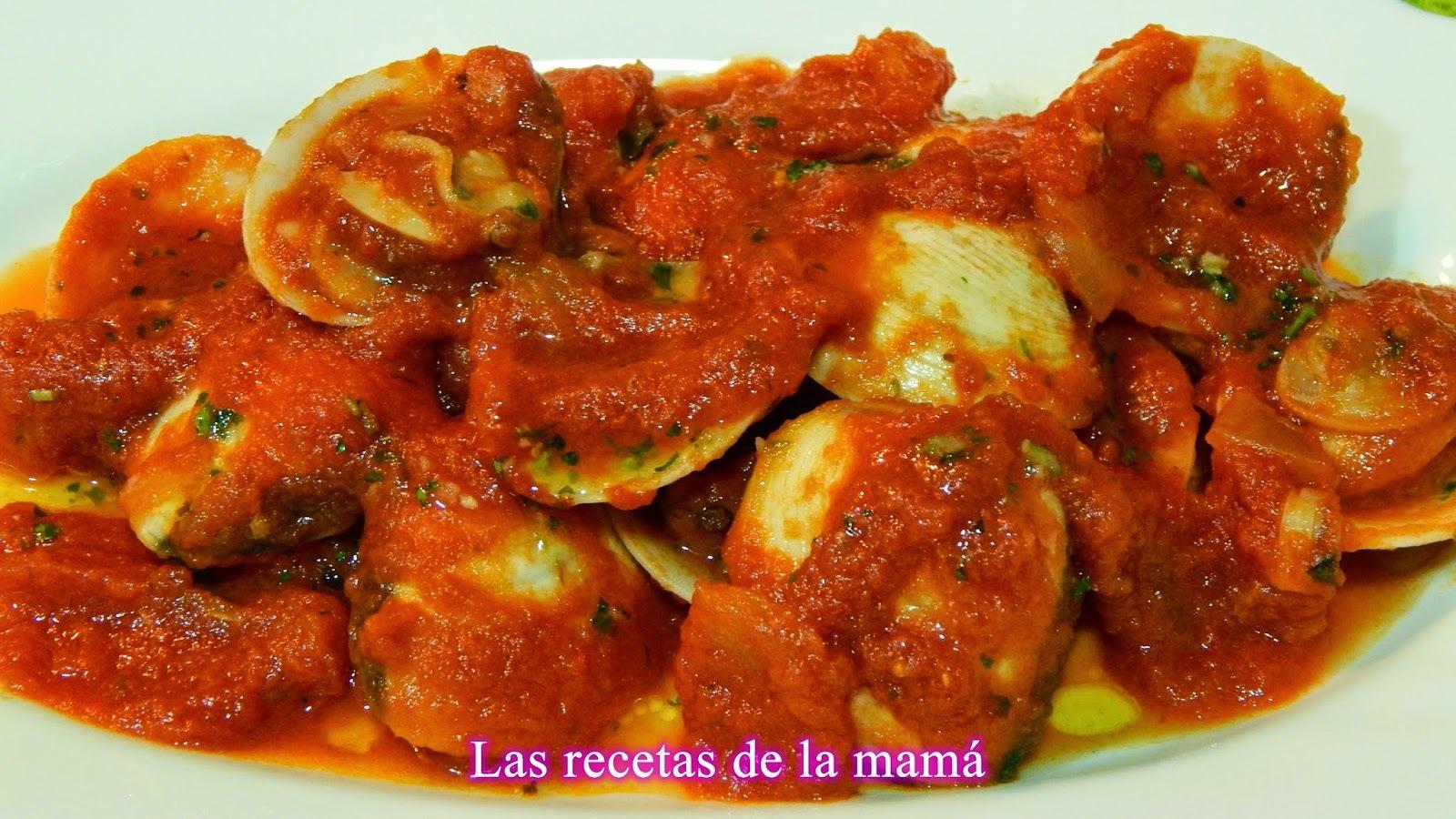Receta de almejas con salsa de tomate