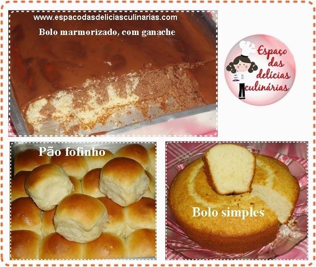 Bolo marmorizado com ganache, bolo simples e pão fofinho