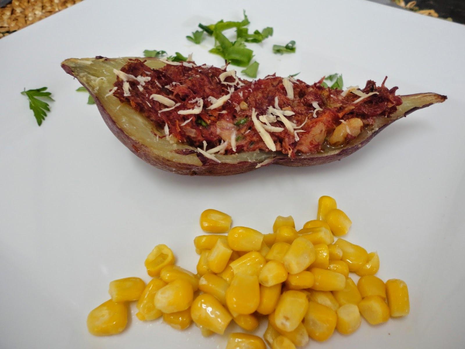 batata doce recheada com carne seca