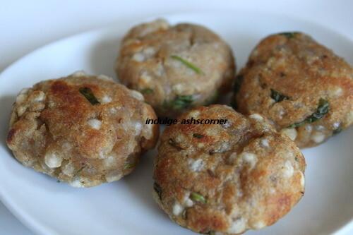 Sabudana/Sago Shingada/Waterchestntu Wade/Nuggets-Low fat in an Appe/Danish pan.