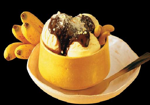 Sorvete de Banana com calda quente