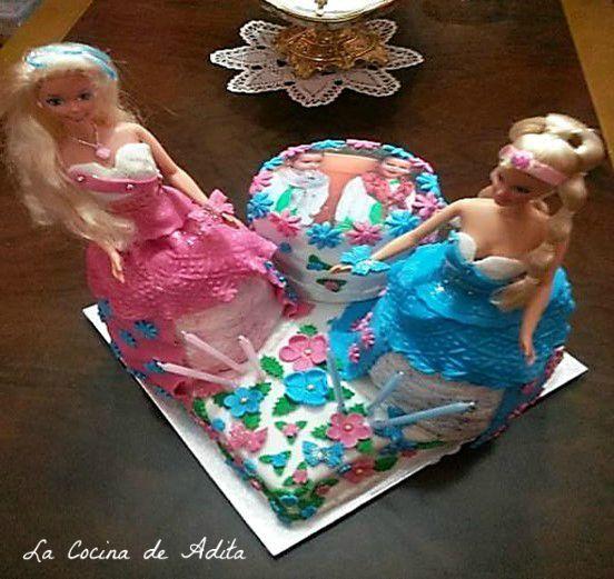 Tarta de muñecas barbies