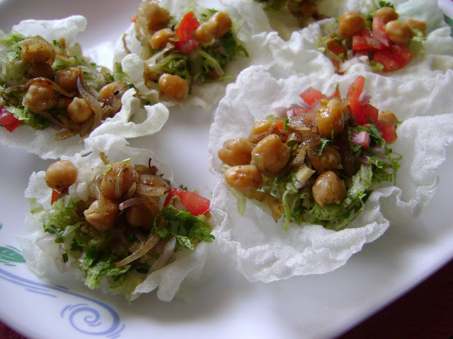 Chickpea salad in rice paper cups