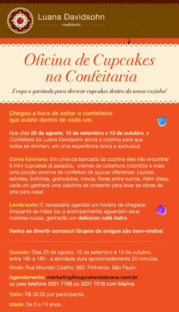 "Luana Davidsohn oferece ""Oficina de Cupcakes"" dia 13.10.2012"